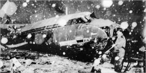 Samolot tuż po katastrofie. Monachium 1958